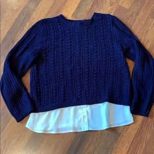 Dark blue sweater with attached bottom